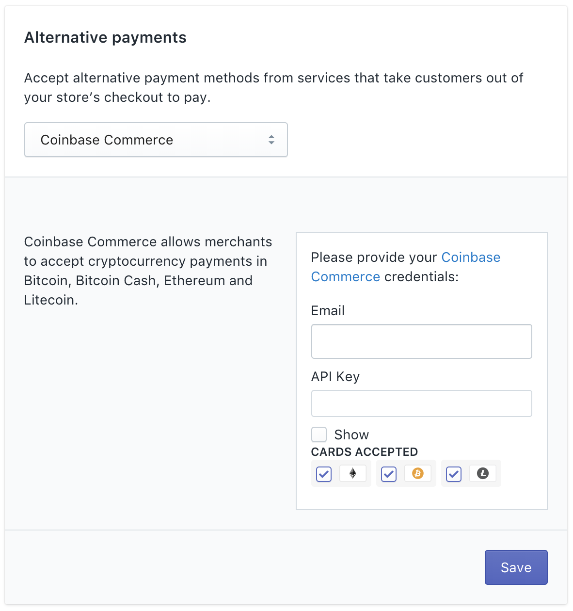 Select which cryptos you want to appear in your shopify checkout