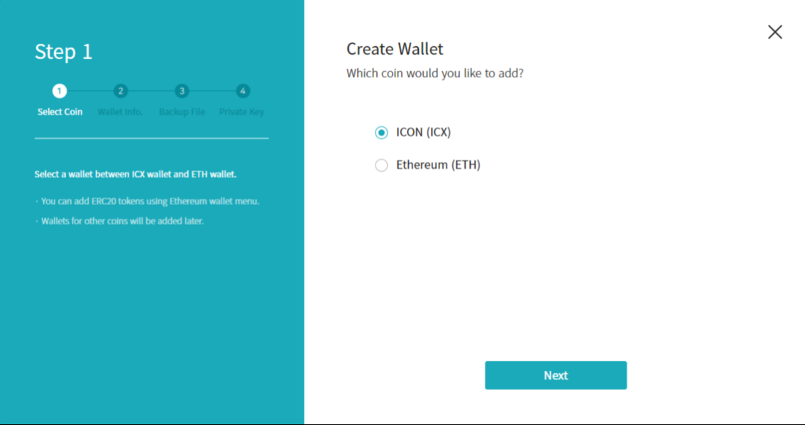 Choose which coin you want to create a wallet for