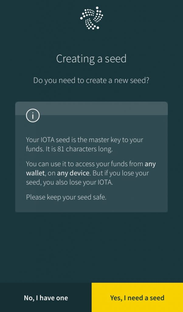 IOTA Trinity Wallet Seed Creation