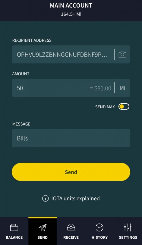 Send IOTA with trinity wallet