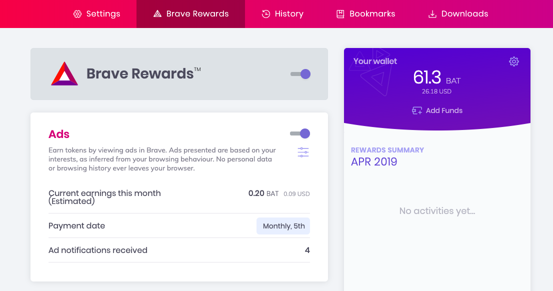 How to earn BAT by viewing ads with the BAT rewards program on Brave